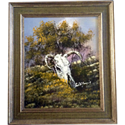 Cecil R Young Jr. (1928-1998) Steer Skull Western Oil Painting on Board Signed By ...