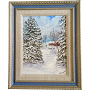 G. Poljainec, Acrylic Painting, Winter Scene of Old Barn Yard Between Pine trees, On Canvas ..