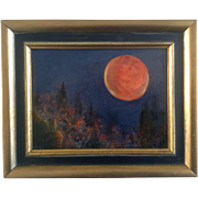 SOLD Beautiful Full Blood Moon Over the Desert, Oil Painting on Canvas Unsigned