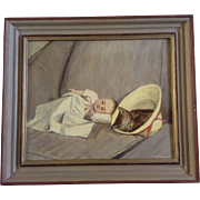 Carrie Sexton, Adorable Kitten Asleep Next to a Doll, Oil Painting on Canvas Artist Panel ...