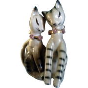 Cat & Roses Salt & Pepper Shakers Ceramic Mid-Century Vintage Japan Figurines