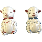 Adorable Apco Lamb Salt & Pepper Shakers Ceramic Pottery Vintage Figurines