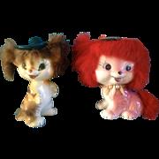 1959 Bradley Fur Dog & Tiger Cat Anthropomorphic California Creations Ceramic Pottery Figurine