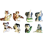 Adorable Bone China Miniature Instrumental Band Animals Mid-Century Figurines Made in Japan