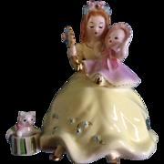 Rare Josef Originals Mother Holding a Baby with Cat Japan Figurine Vintage