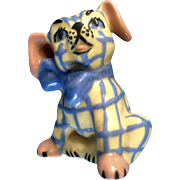 One Vintage Ceramic Arts Studio Gingham Dog Salt or Pepper Shaker Mid-Century Figurine.