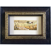 Betty McLean Henderson, Miniature Watercolor Painting, Rural Landscape Homestead, Works on ...