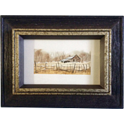 Betty McLean Henderson, Miniature Watercolor Painting, Rural Landscape Homestead Behind Fence,