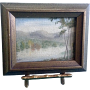 Nello, Oil Painting, Lake in the Fall With Changing Aspen Trees, Mini Canvas Board With ...