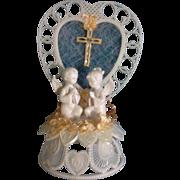 Vintage Amidan's Wedding Cake Topper Children Angels, Cross and Peach Ribbon 1980's Hand .
