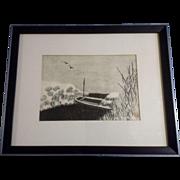 Aoyama Masaharu (Japanese 1893-1969), Riverboat, Woodblock Print o-bosho  chuban 19.5 cm x ...
