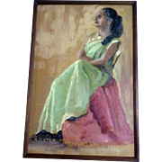 A Slater, Oil Painting, Portrait of a Sitting Hindu Woman, Bollywood Painted on Canvas Board .