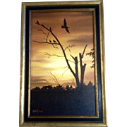 H D Flyer, Acrylic Painting, Dead Tree with Black Birds, Painted on Canvas Board, Signed ...