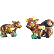 Palmar Salt & Pepper Shakers Bull Cow Mid-Century Japan Figurines