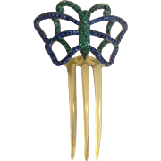 Art Deco Butterfly Celluloid Green & Blue Rhinestone Hair Comb