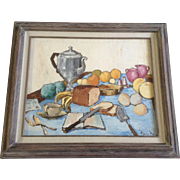 Charlie (Mac) MacEachern, Impression Oil Painting, Still Life Tea and Fruit Luncheon, Painted