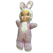 My Toy Rubber Face Sad Pouting Bunny Rabbit Plush Violet and White Stuffed Animal Vintage ...