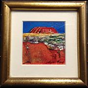 REDUCED Noela Mills, Ayers Rock Miniature Oil Painting, Maleny, Australia