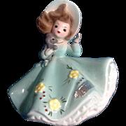 Vintage Josef Originals March Birthday Girl Figurine with Bonnet & Puppy