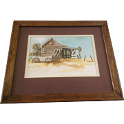 Betsy Jones, Watercolor Painting Old House With Windmill and Old Wagon, Works on Paper, Signed