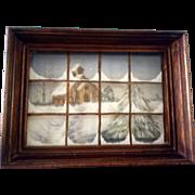 Shadow Box Window Snowy Winter Church Scene Acrylic Painting signed by Artist Midget