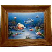 Charles Redmond Benolt, Tropical Fish Oil Painting on Canvas, Signed by Well Collected Listed