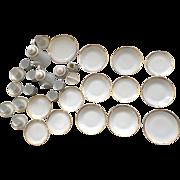 36 pc. Bohemia Czechoslovakia White and Gold Triangle Band Trim Luncheon Set Vintage