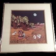 "Katalin Olah Ehling, Original Batik Painting, Southwestern Indians Walking ""Homeward Boundâ€"