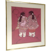 "Katalin Olah Ehling, Original Batik Painting, Southwestern Indian ""Little Sisters"" ..."