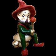 Josef Originals Pixie Elf Hillbilly Old Man Sitting on a Mushroom Japan Figurine Vintage