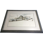 Hollifield Watercolor Painting on Paper Barn in Winter Snow Signed by Artist