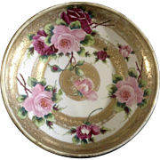 """Antique Hand Painted Nippon Moriage Roses Jeweled Bowl Gold 1/4 """" Maple Leaf Backstamp"""