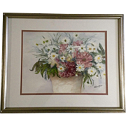 H Quintana, Watercolor Painting, Pot of Wildflowers, Works on Paper Signed by Artist