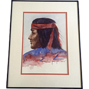 Jane Johnson, Native American Indian Watercolor Painting Works on Paper signed by Artist