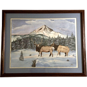W M Wise, Large Watercolor Painting, Elk in the Snowy High Country, Works on Paper ...