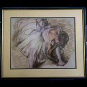 Dancer Adjusting Her Shoe Print Degas Ballerina Offset Lithograph Behind Frosted Glass