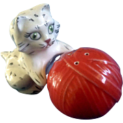 Vintage Cat & Yarn Salt & Pepper Shakers ABC Studio Beverly, Mass. Mid-Century USA Pottery