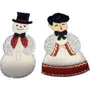 Beautiful Felt and Sequins Christmas Snowman & Choir Boy Light Switch Covers Handmade Mid ...