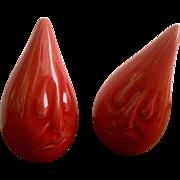 Vintage RED Anthropomorphic Teardrop Sad Faced Salt & Pepper Shakers Signed by Artist K.H. Mid