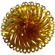 Gorgeous Foil Gold Pinwheel Honeycomb Sky burst Mid-Century Sparkle Christmas Decoration