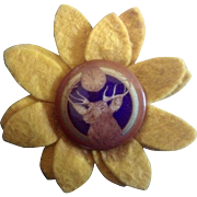 Vintage Elk Lodge B.P.O.E. Felt Sunflower Cover Pin back Button Benevolent and ...