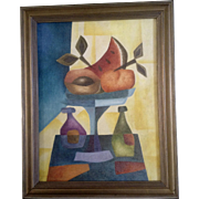 Gustavo Martinez Palos, Cubism, Fruit Compote With Wine, Mexican Folk Art Oil Painting on ...