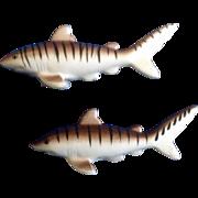 Vintage Tiger Sharks Salt & Pepper Shakers Ceramic 1970's Made in Japan Figurines