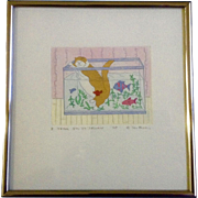 """Jan Havens Etching, Cat in Fish Tank """"I Think I'm In Trouble,"""" Artist Proof ..."""
