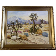 Geoffrey Holt  (1882 - 1977) Joshua Trees in Desert Bloom, Oil Painting on Board, Signed ...
