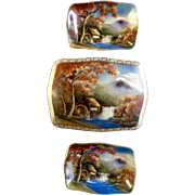 Lily China Hand Painted Trinket Box and Nut Tray Combo Japan Porcelain Mid-Century Set