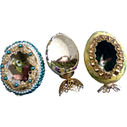 Diorama Easter Eggs Handmade Mid-Century Panoramic View Beaded, Ribbons, Glitter Figurines