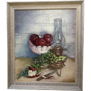 "Helen C. Craig, Oil Painting ""Red Delicious"" Apples and Old Lantern Painted on Canvas ..."
