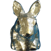 "Reed & Barton Silverplate Bunny Rabbit ""Piggy"" Bank with Original Sticker Vintage Fi"