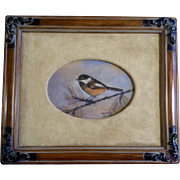 Nancy Hawkins, Oil Painting, Chickadee Bird on Pine Branch, painted on panel, Signed by Well .